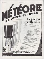 Publicité Stylo Plume Porte Plume METEORE  photo vintage print ad  1929 - 6h