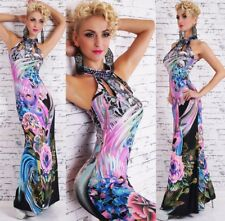 SEXY NECKHOLDER MAXI DRESS SOMMER KLEID FLOWER MAXI KLEID LILA STRASS L/XL