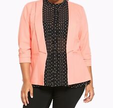 Torrid Ruched Sleeve Light Weight Blazer Apricot Pink 0X Large 12 0 #59925