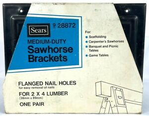 Vintage Sears Saw Horse Brackets 1 Pair Black #928872 New NOS Made in the USA
