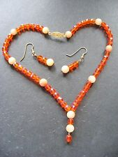 Orange Czech Glass and Jade Bead Choker Necklace and Earring Set