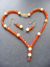 Orange Czech Glass and Jade Bead Choker Necklace and Earring Set