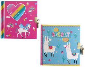 Fancy Girls & Boys Secret Diary Journal Lockable With 2 Keys Llamas/Unicorn New