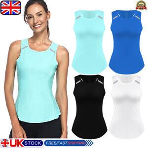 Womens Reflective Sports Top Outdoor Running Vest Summer Tank Holiday T Shirt UK