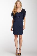 VELVET By Graham & Spencer Ling Sheer Flutter Sleeve Jersey Dress Navy S $130