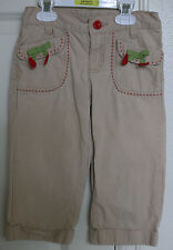 GYMBOREE CHERRY CUTE Sz 6 KHAKI CAPRIS Pants Girls Tan Red Stitching VGUC
