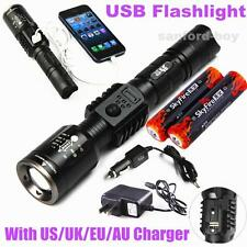 2 Battery 2000lumen Zoomable CREE XM-L T6 LED Tactical USB Flashlight Torch Lamp