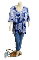 Avella Blue & White Long Sleeve Button Down Top | Plus Size: 26
