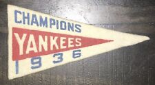 "Vintage 1936-37 BF3 New York Yankees Champions Mini FELT BASEBALL PENNANT 4 1/4"""