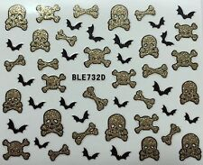 Nail Art 3D Glitter Decal Stickers Skull Bones Bats Halloween BLE732D