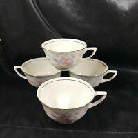 Set of 4 Vintage Porcelain WARWICK SILVER MOON China Tea Cups