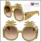 GUCCI HOLLYWOOD FOREVER PINEAPPLE Crystal Stud Gold Glitter 0150 Runway GG0150S