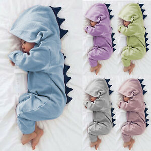Newborn Baby Kid Boy Girl Dinosaur Hooded Romper Jumpsuits Playsuits Clothes