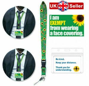 Face Covering Mask Exemption PVC Card Hidden Disabilities Sunflower Lanyard
