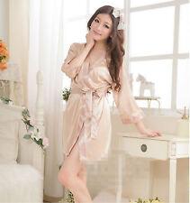 Skin pink Ice Silk Dress Sleepwear Gown Satin Hot Women's  Bath Robe Nightwear