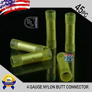 45 Pack 4 Gauge Wire Butt Connectors Yellow Nylon 4 AWG Crimping Terminals USA