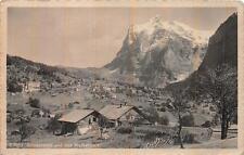 LUZERN SWITZERLAND TO USA GRINDELWALD WETTERHORN TOWN & MOUNTAIN POSTCARD 1914