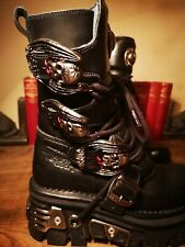 Custom New Rock Reactor M373 S4 Women Boots Leather Size 3 (36c) Vampire Buckles