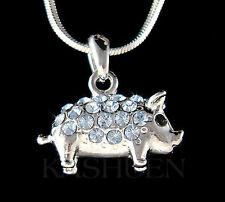 w Swarovski crystal ~Blue 3D Double sided Cute Pig Piggy Piglet Pendant Necklace