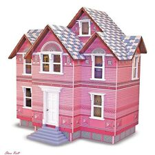 Toddler Girl Doll House Little Kit Miniature Victorian Wooden Furniture Pink New
