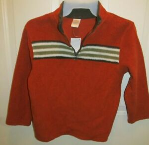 NEW Boys Gymboree Quarter Zip Long Sleeve Shirt Size S 5-6 Burnt Orange Fleece
