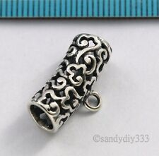 1x OXIDIZED STERLING SILVER FLOWER PENDANT SLIDE BAIL CONNECTOR 19.3mm  #2803
