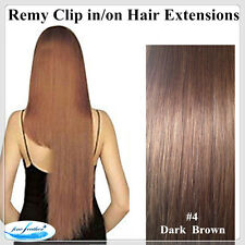 "18"" Clip in 100% Human Indian Remy Hair Extensions 65g 5pcs #4 Chestnut Brown"