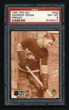 PSA 8 GEORGES VEZINA 1991 Pro Set Hockey Card #333 FRENCH