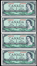 (4) CONSECUTIVE 1954 $1 ONE DOLLAR BANK OF CANADA BANKNOTES GEM UNC