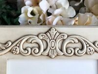 Shabby farmhouse chic antique white 5x7 ornate wood wall gallery picture frame