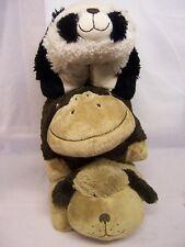 3 X PILLOW PETS BROWN DOG, MONKEY AND PANDA, WONDERFUL USED CONDITION