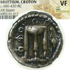 Bruttium KROTON TRIPOD Incuse Rev.NGC VF 480 BC Ancient Greek Silver Stater Coin