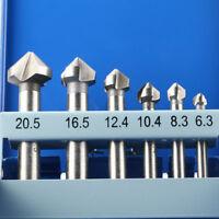 6PCS 3 Flute 90 Degree HSS Countersink Chamfer Cutter Mini Drill Mill Drill Set