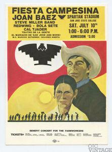 Joan Baez Handbill 1971 Jul 10 Benefit concert for FIESTA CAMPESINA San Jose