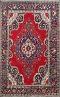 Semi-Antique Geometric Red/Navy Tebriz Room Size Area Rug Hand-Knotted Wool 6x9