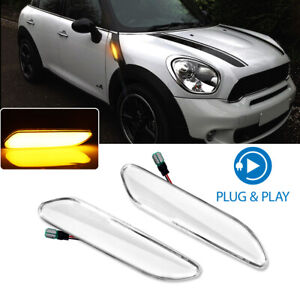For MINI Cooper R60 R61 Amber LED Front Fender Side Marker Signal Lights, Clear
