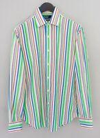 Hommes Polo Par Ralph Lauren Chemise Décontractée Rayé Coton L 15.5 34/35 MIA82
