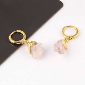 August February Birthstone Raw Gemstone Yellow Gold Plated Clip On Earrings