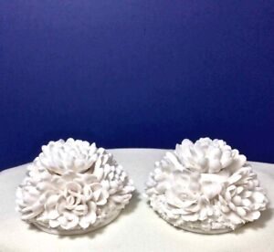 White PORCELAIN CHRYSANTHEMUM CANDLE HOLDERS •2• Removable Centers JAPAN Vintag