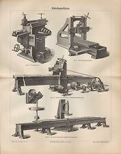 Lithografie 1890: Hobelmaschinen. Feilmaschine Holz Eisen Maschinen
