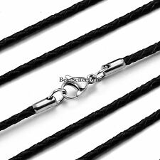"2mm Twisted Braided Rope Black Leather Cord Chain  22"" Necklace Silver Clasp"