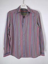 Robert Graham Burgundy Micro Gingham Check with Stripes Shirt (M)