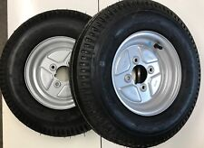 """Pair of 500x10 Trailer wheels and Tyres 4 Stud 4""""pcd 4 ply"""