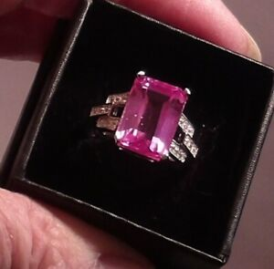 Certified Natural Mogok Burmese 9.60ct Pink Ruby emerald ct Ring Sterling Size 8