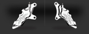 "CHROME LEFT & RIGHT SIDE PERFORMANCE MACHINE 6-PISTON CALIPER SET FOR 13"" ROTOR"