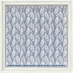 LEAVES PRINT ALL OVER FLORAL WHITE NET CURTAIN HEAVY THICK TRADITIONAL LACE 4098