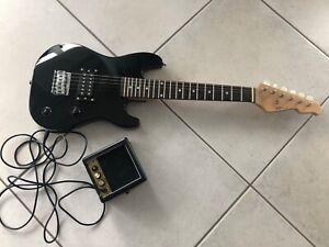 ★E-Gitarre für Kinder Mini 78cm - schwarz + Verstärker MA05 + 3Pik + Style 2★