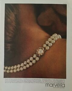 1967 Marvella faintest rose pearl necklace earrings vintage jewelry color ad
