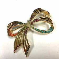 Vtg D'ORLAN Bow Brooch Multicolor Beads & Swarovski Crystals Gold Plated EE86i