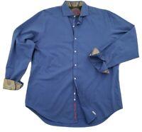ROBERT GRAHAM Men's Size XL Flip Cuff Button Down Blue Long Sleeve Shirt